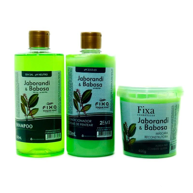 Kit Jaborandi com Babosa Shampoo, Condicionador e Mascara 3x1
