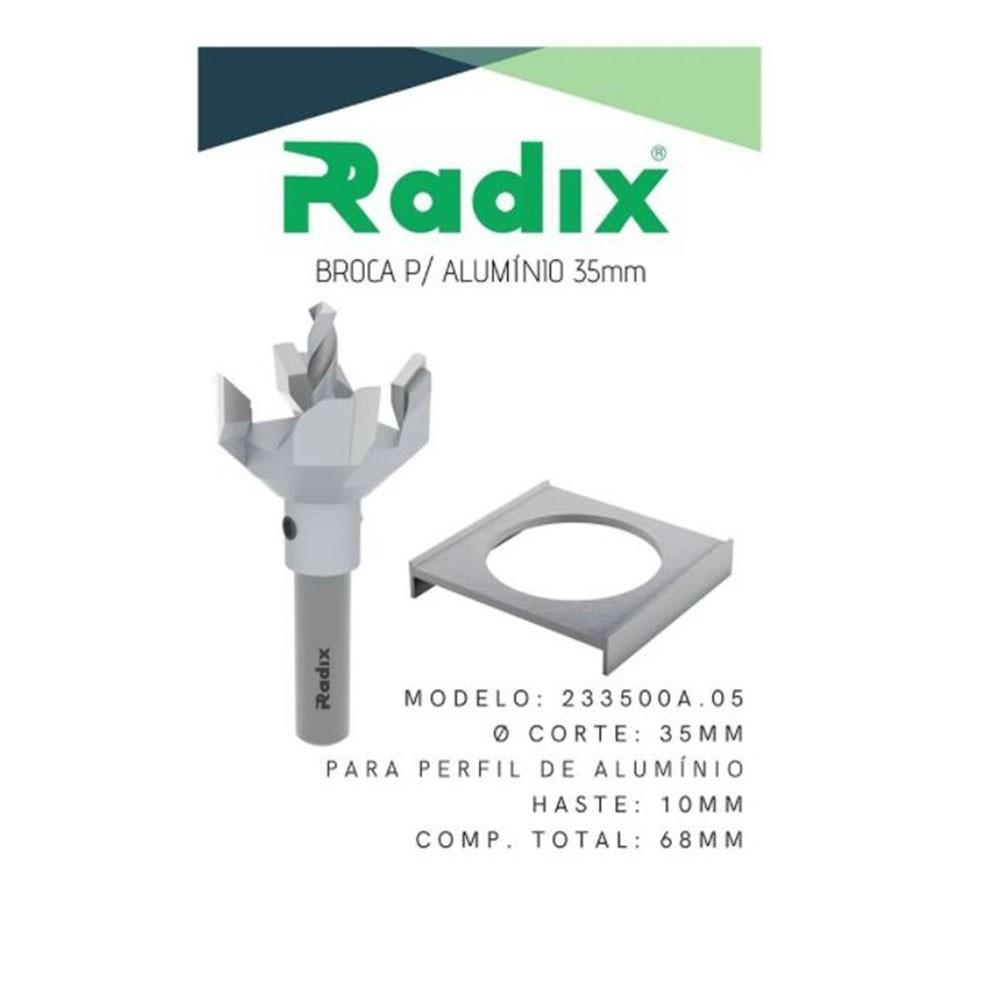 Broca G23 Para Perfurar Perfil de Alumínio 35mm 4 Cortes Radix
