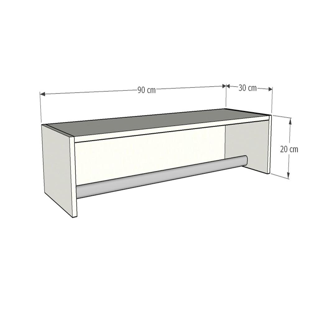 Cabideiro Closet 90cm c/ 3 peças