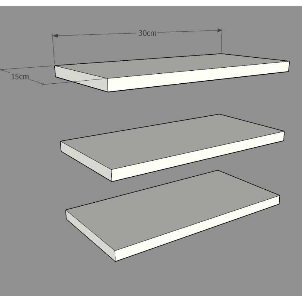 Prateleira Branco 30X15cm c/3 unidades + Suporte Invisível