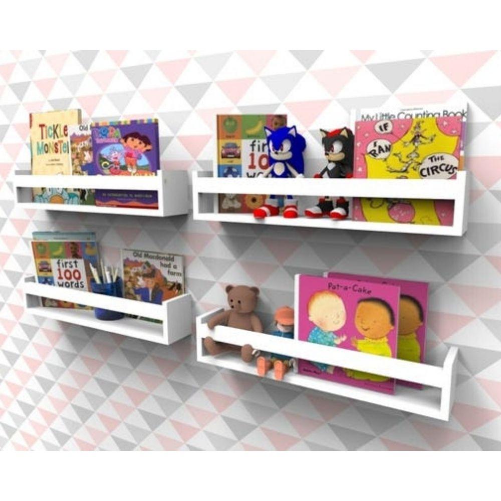 Prateleira para Livros Infantil Montessoriano 60cm - 4 peças