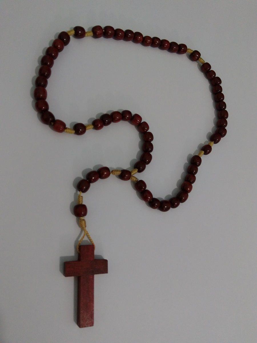 Terço da Virgem Maria Madeira Cordão