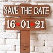 PLACA SAVE THE DATE EM MDF