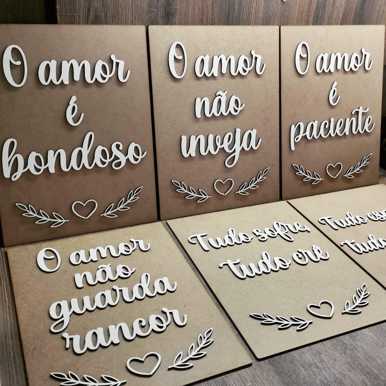 KIT CAMINHO DO ALTAR COM 6 PLACAS EM MDF CRU COM LETRAS BRANCAS