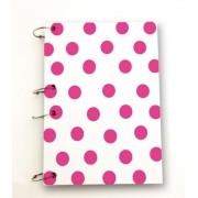 Caderno argolado universitário A4 poá rosa