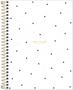 Caderno Espiral Capa Dura Colegial 1 Matéria West Village Poá branco 80 Folhas