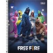 Caderno Espiral Capa Dura Universitário 1 Matéria Free Fire 80 Folhas