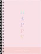 Caderno Espiral Capa Plástica Colegial 1 Matéria Happy Rosa 80 Folhas