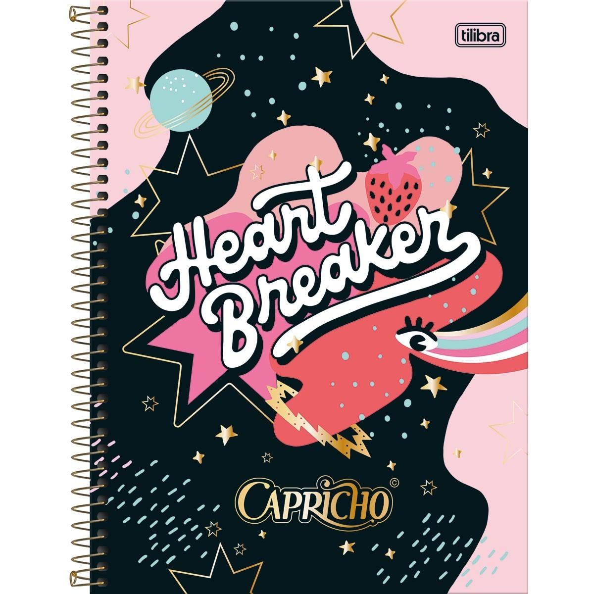 Caderno Espiral Capa Dura Universitário 10 Matérias Capricho 160 Folhas - Unidade