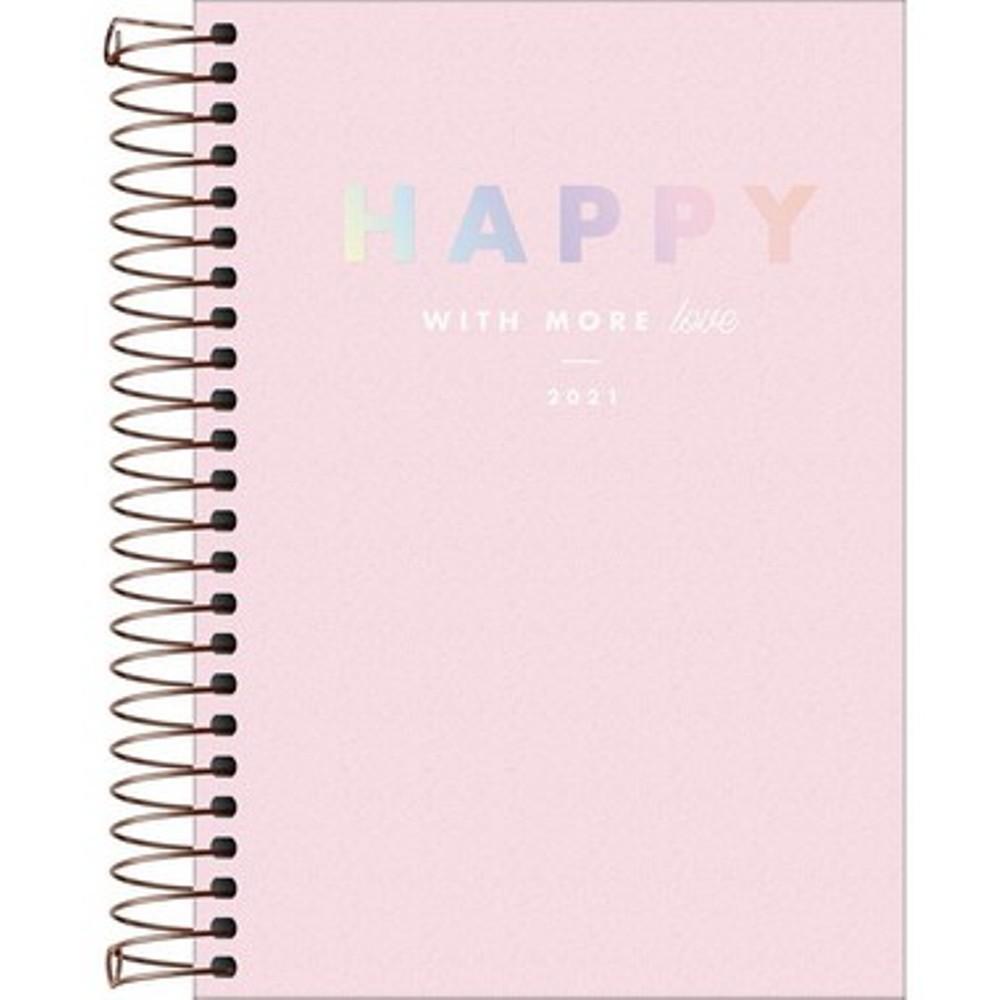 Planner Espiral Happy Rosa 2021Capa Plástica
