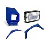 Kit Carenagem Farol e Paralamas para Mobilete Caloi na cor Azul
