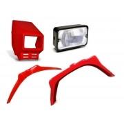 Kit Carenagem Farol e Paralamas para Mobilete Caloi na cor Vermelha