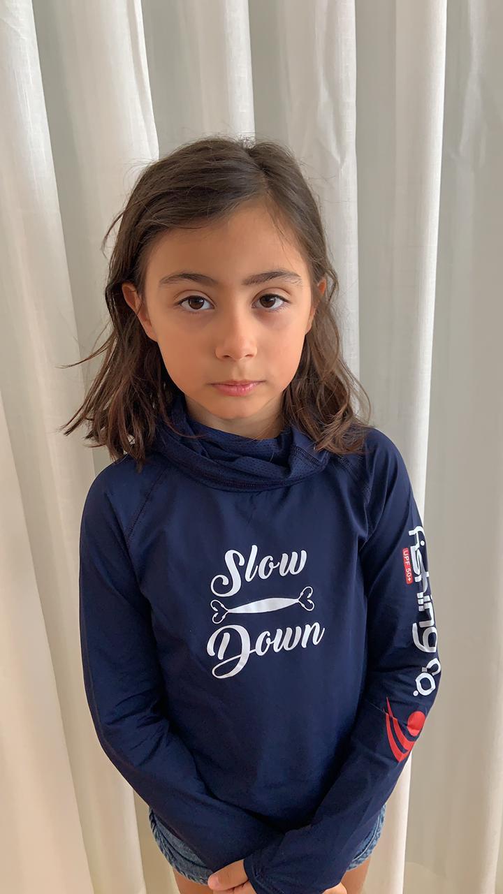 Camiseta Infantil Slow Down modelo Samurai by Fishing Co Marinho