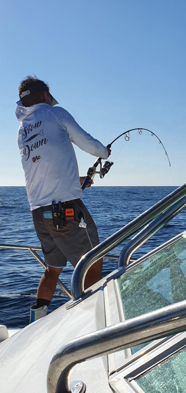 Camiseta Slow Down modelo Samurai by Fishing Co Branca