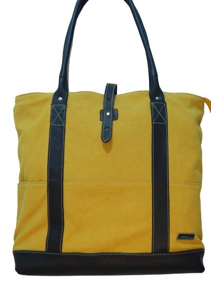 Bolsa Feminina de Lona e Couro Top Bag Zup