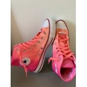 Tênis All Star Cano Alto Degradê Coral+Pink com cadarço colorido
