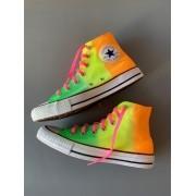 Tênis All Star cano alto Neon Verde+Amarelo+Laranja com cadarço Rosa