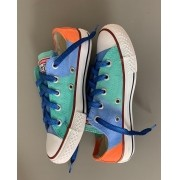 Tênis All Star cano baixo Azul+laranja com cadarço Azul