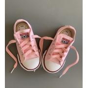 Tênis All Star Cano Baixo Infantil Rosa Bebê com cadarço colorido