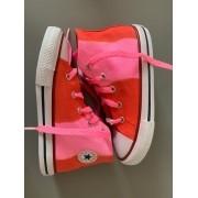 Tênis All Star Infantil Cano Alto Degradê Rosa+Vermelho com cadarço colorido