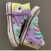 Tênis All Star Infantil Cano Alto Unicórnio com cadarço colorido