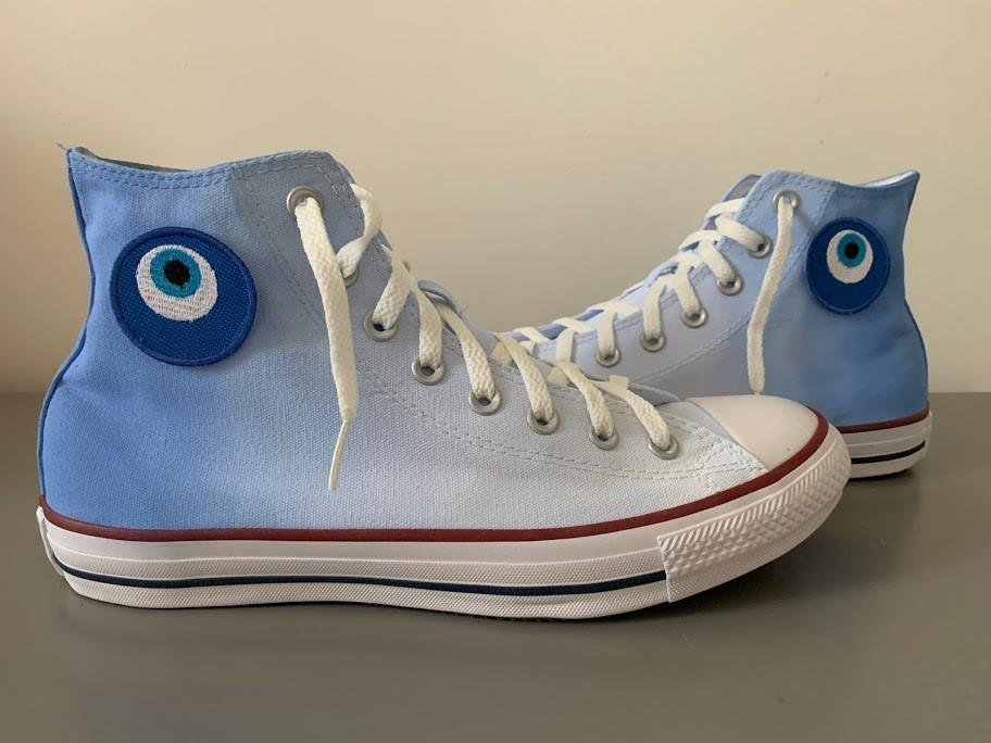 Tênis All Star Cano Alto Degradê Azul com Olho Grego