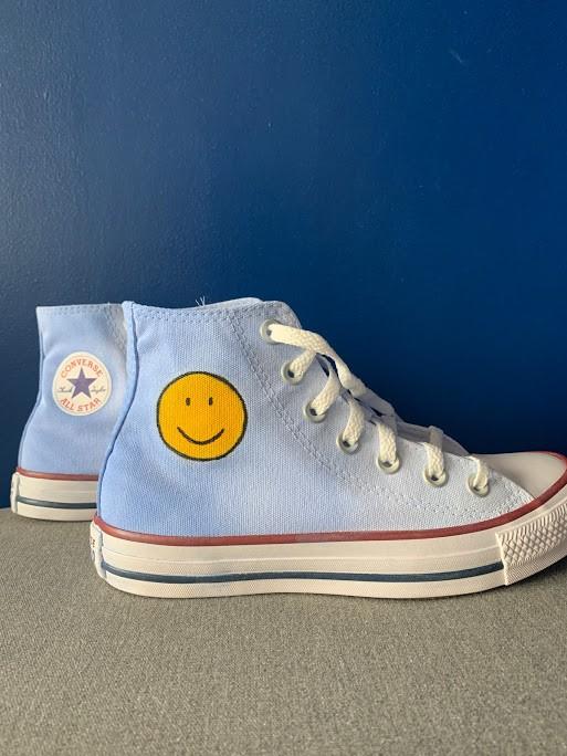 Tênis All Star Cano Alto Degradê Azul com Smile
