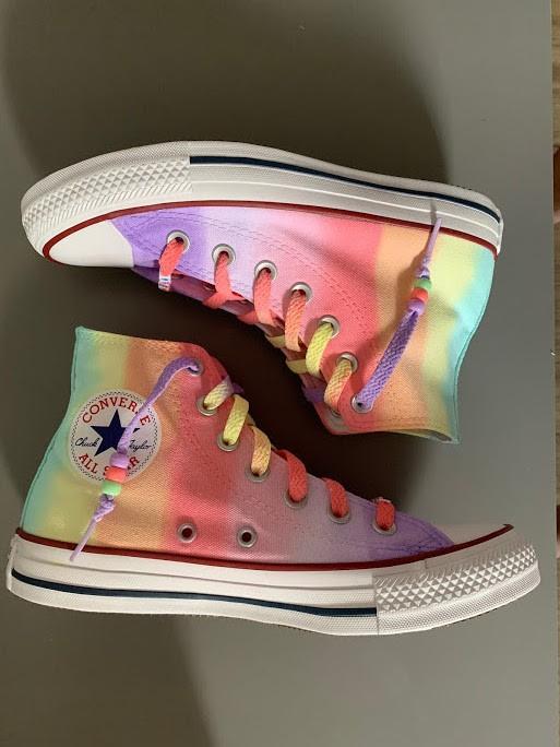 Tênis All Star cano alto Rainbow 1 com cadarço Colorido