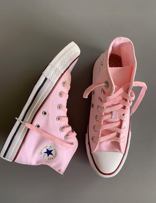 Tênis All Star Cano Alto Rosa Bebê com Cadarço Rosa Bebê
