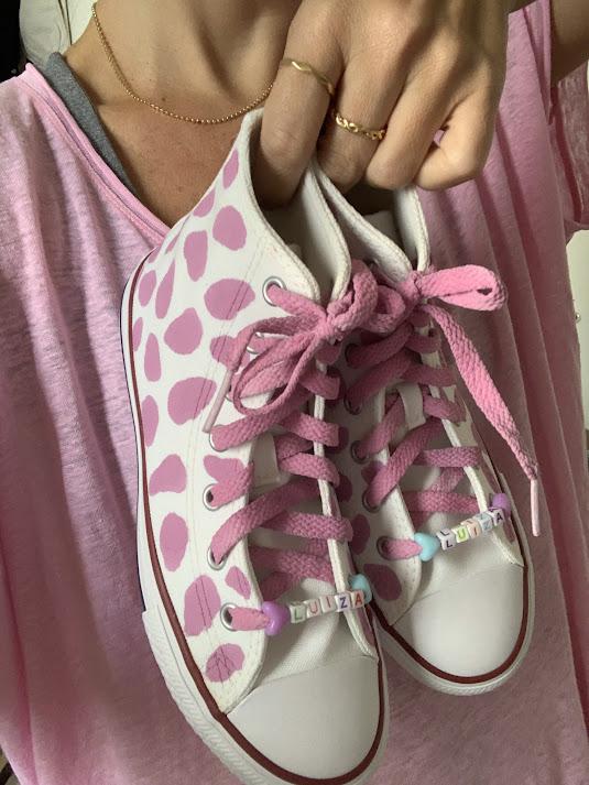 Tênis All Star Cano Alto Vaca Rosa com Cadarço Colorido