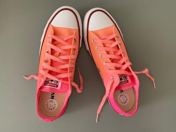 Tênis All Star cano baixo degradê Laranja+Pink com cadarço colorido