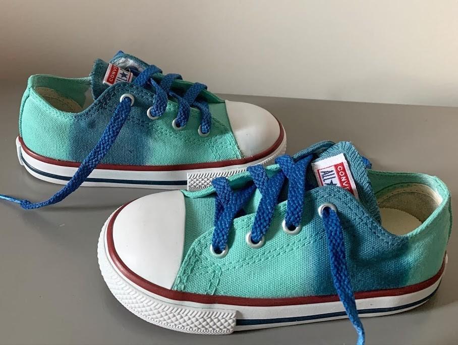 Tênis All Star Cano Baixo Infantil AzulMarinho+VerdeAgua com cadarço azul