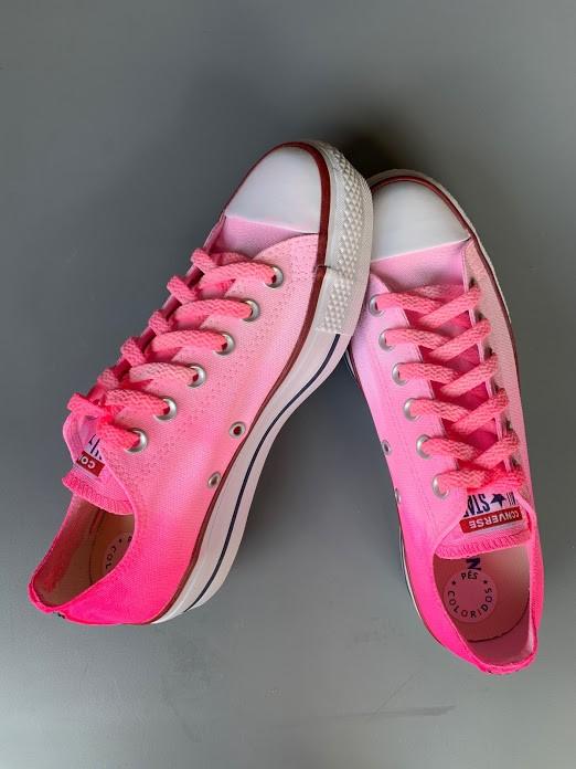 Tênis All Star Cano Baixo Plataforma Degradê Rosa com cadarço Colorido