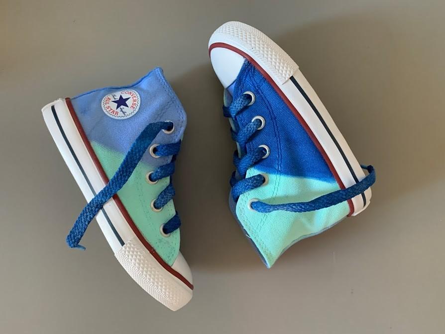 Tênis All Star Infantil Cano Alto Azul+Verdinho com cadarço Azul