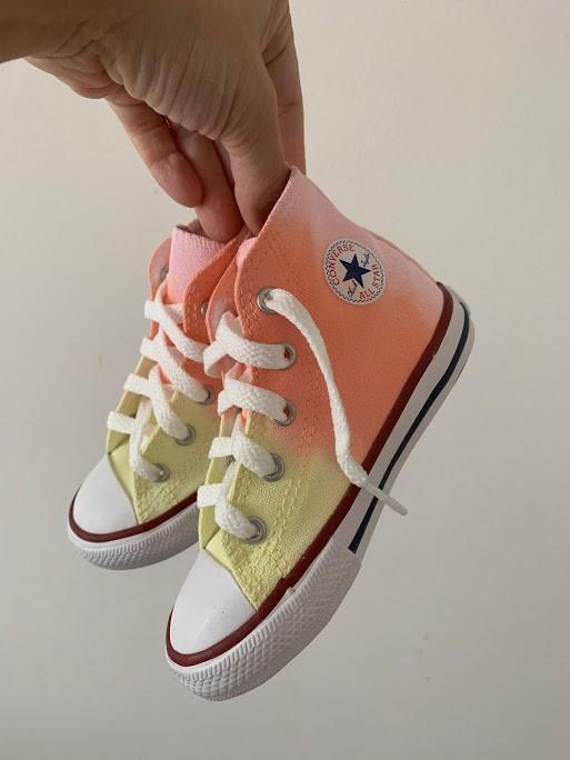 Tênis All Star Infantil Cano Alto Degradê Amarelo+laranja+rosa