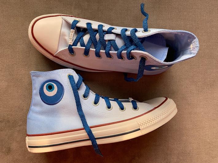 Tênis All Star Infantil Cano Alto Degradê Azul com olho grego