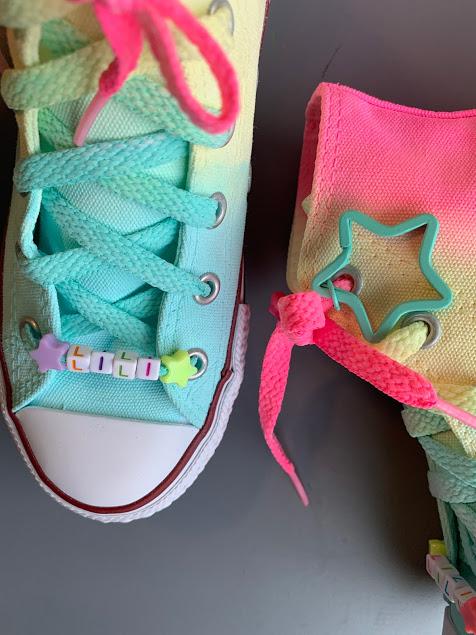 Tênis All Star Infantil Cano Alto Degradê Candy Neon com cadarço colorido COM CHAVEIRO DE ESTRELA