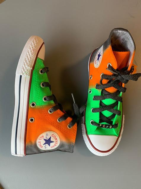 Tênis All Star Infantil Cano Alto Degradê Verde + Laranja + Preto com cadarço Preto