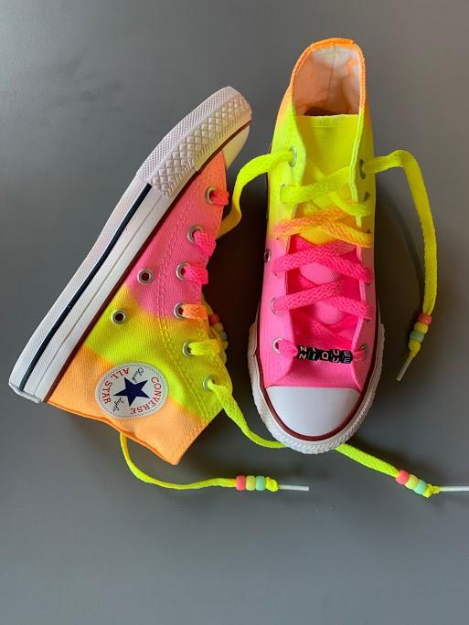 Tênis All Star Infantil Cano Alto neon Rosa+Amarelo+laranja com cadarço colorido