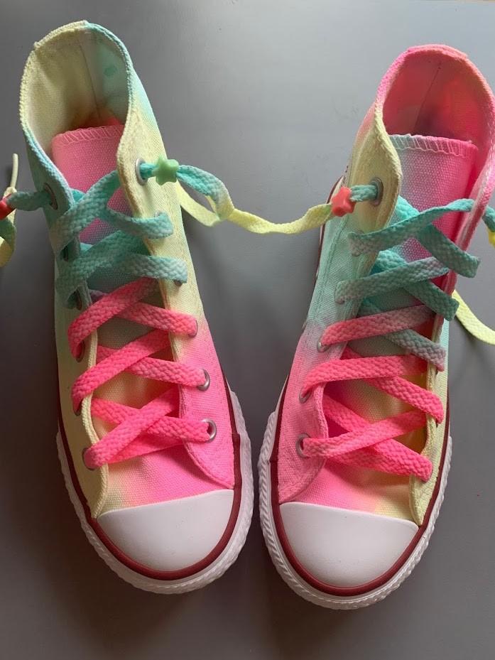 Tênis All Star Infantil Cano Alto Neon Tie Dye com Cadarço Colorido