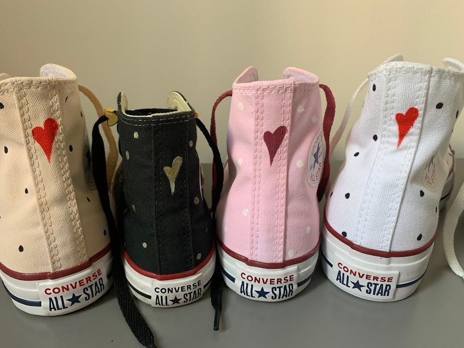 Tênis All Star Infantil Cano Alto Rosa Bebê Poá Branco Cadarço Rosa Queimado