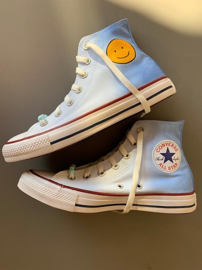 Tênis All Star Infantil Cano Alto Smile Azul degradê