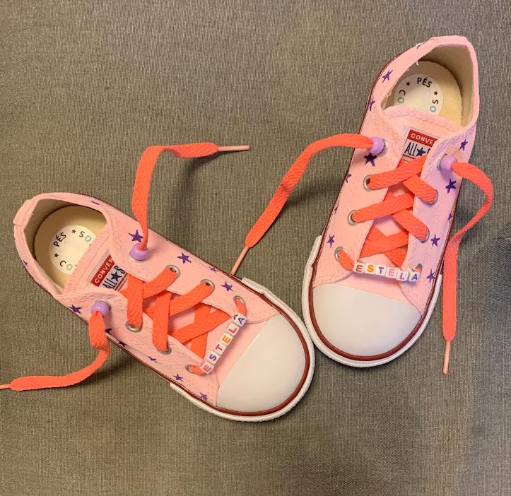 Tênis All Star infantil cano baixo Estrelinhas com cadarço Coral