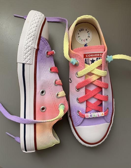 Tênis All Star Infantil Cano Baixo Rainbow 1 com cadarço colorido