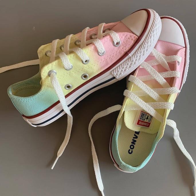 Tênis All Star Infantil Cano Baixo Rosa+amarelo+verdinho Candy Colors