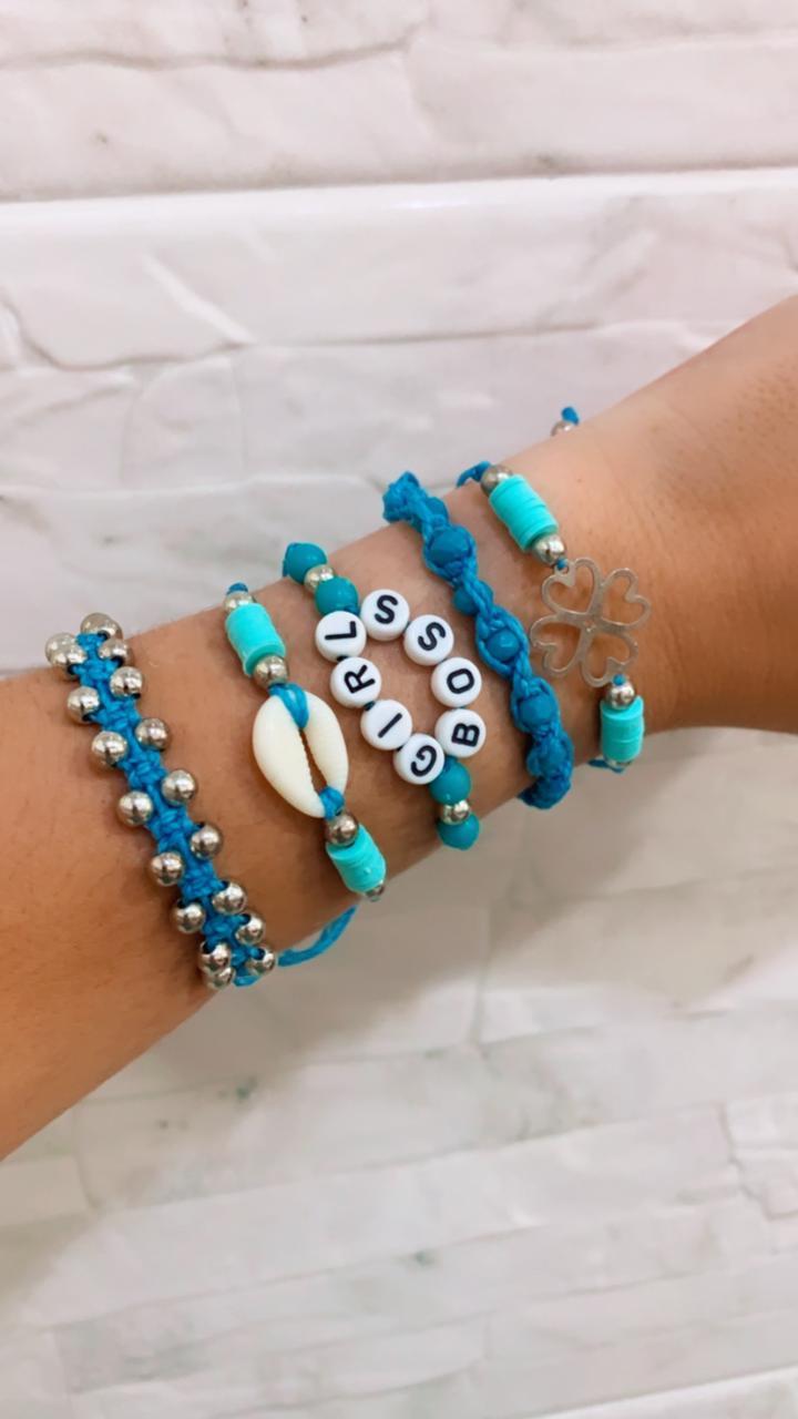 Kit de 5 Pulseiras Azul Girl