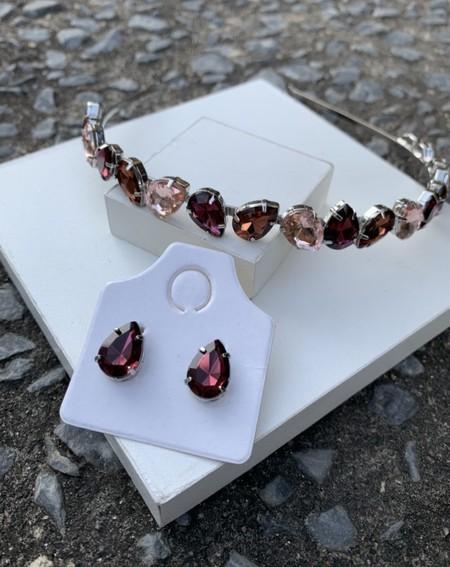 Kit tiara + brinco Bella Liy
