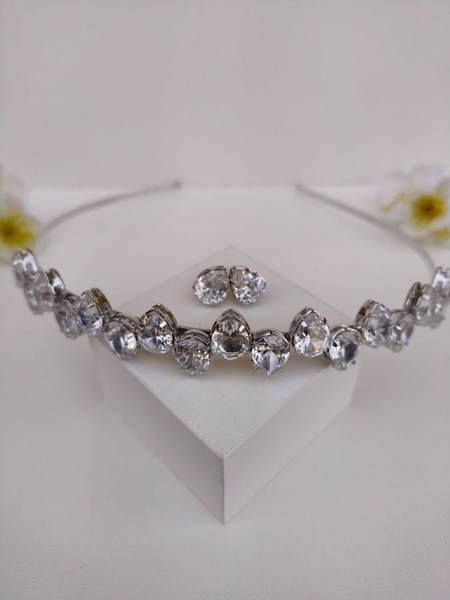 Kit tiara + brinco de zircônia Ziq cristal