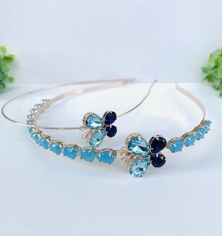 Kit tiara Mãe e Filha de zircônia Azul