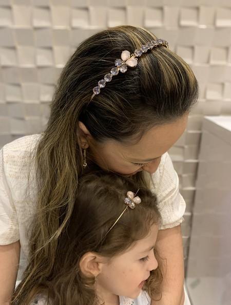 Tiara Mãe e Filha de zircônia lilas